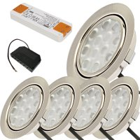 5er Set / Flache LED Einbauspots Lina / 12Volt / 3W /...