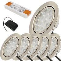 6er Set / Flache LED Einbauspots Lina / 12Volt / 3W /...