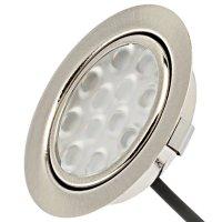 8er Set / Flache LED Einbauspots Lina / 12Volt / 3W / Kabelbaum / Stecker/ Verteilerleiste / LED Trafo / Einbautiefe nur 15mm