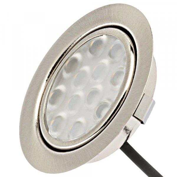 Flache LED Möbel Einbauleuchte Lina 12V - 3W - Stromkabel 1.8m - ohne Transformator
