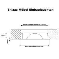Flache LED Möbel Einbauleuchte Lina 12V - 3W -...