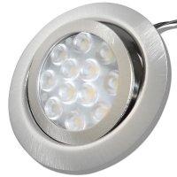 8er Set LED Einbaustrahler Alina 12Volt 3W mit 2 x 15W LED Trafos, Zuleitung und AMP Verteiler. Schwenkbar. ET=22mm