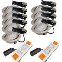 9er Set LED Einbaustrahler Alina 12Volt 3W plus 2 x 15W...