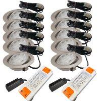 10er Set LED Einbaustrahler Alina 12Volt 3W inkl. 2 x 15W...
