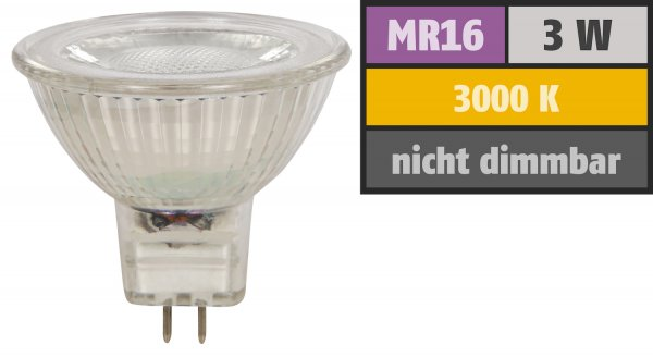 Reflektor COB LED Leuchtmittel 12Volt - 3Watt - WARMWEISS - 230 Lumen - Sockel Gu5.3
