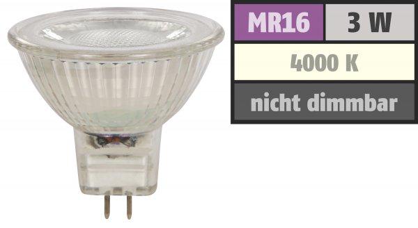 Reflektor COB LED Leuchtmittel 12Volt - 3Watt - NEUTRALWEISS - 250 Lumen - Sockel Gu5.3 - 36° Lichtkegel