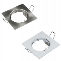 Starrer Einbaufassung / 230Volt / Ohne Leuchtmittel / Gu10 Fassung / Weiß / Silber