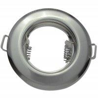 Runde Einbaufassung Weiss / Silber /  Starr / Ø=80mm / 230V / Ohne Leuchtmittel