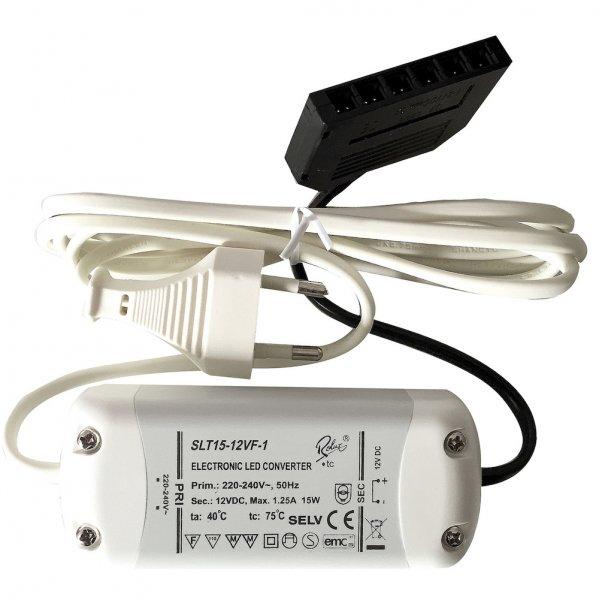 Elektronischer LED Trafo / Treiber / 15W / inkl. Zuleitung und 6-fach Verteiler für Mini AMP Stecker