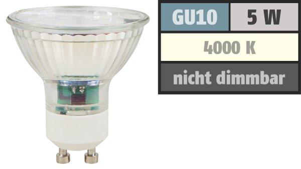 SMD LED Leuchtmittel 230Volt - 5Watt - NEUTRALWEISS 4000Kelvin - 120° Abstrahlwinkel - Sockel Gu10