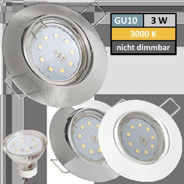 SMD LED Einbaustrahler Jan / 3Watt / 230Volt / 110° Leuchtwinkel / Betrieb ohne Trafo möglich.