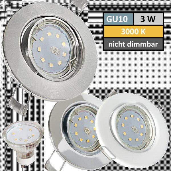 SONDERAKTION / LED Einbaustrahler / 230V / 3W=30W / Schwenkbar / 120° Leuchtwinkel