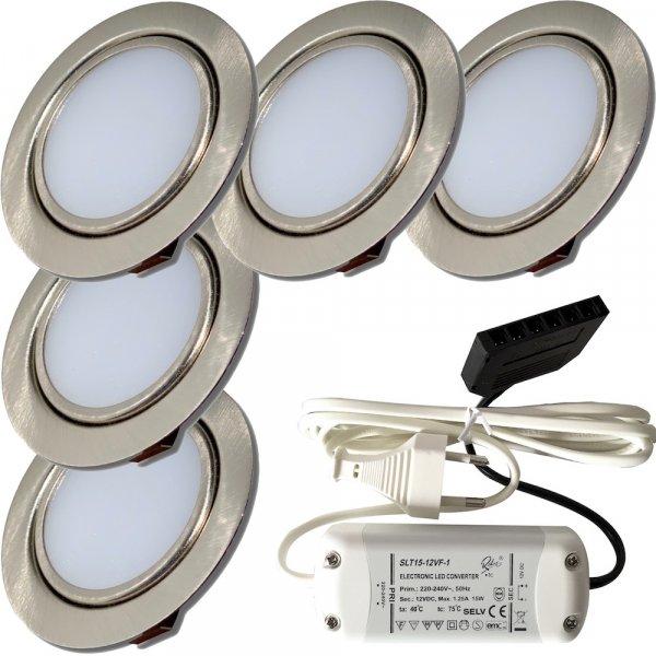 5er Set mit 15W LED Trafo